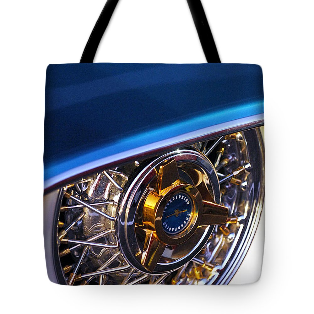 Car Tote Bag featuring the photograph 1957 Ford Thunderbird Wheel by Jill Reger