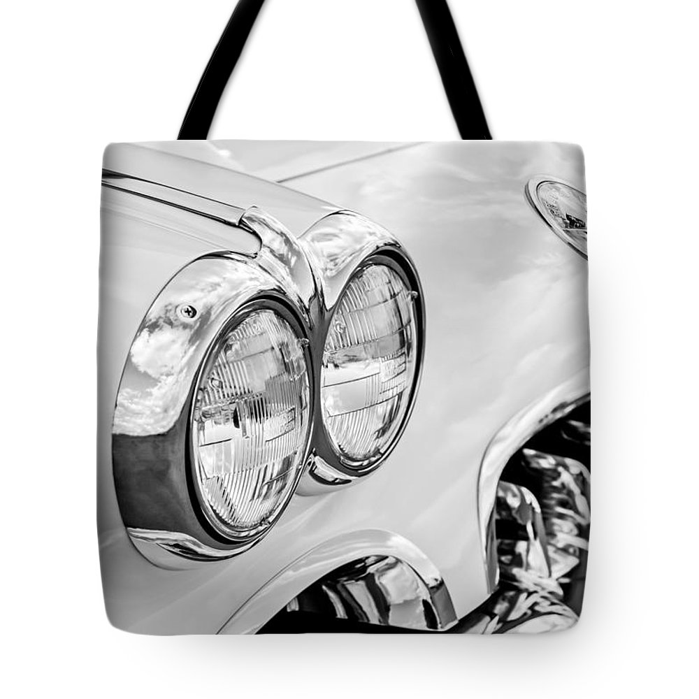 1959 Chevy Corvette Tote Bag featuring the photograph 1959 Chevrolet Corvette Grille by Jill Reger