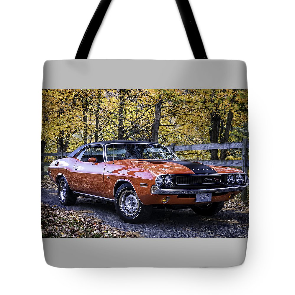 Challenger Tote Bag featuring the photograph 1970 Dodge Challenger Rt by Expressive Landscapes Fine Art Photography by Thom