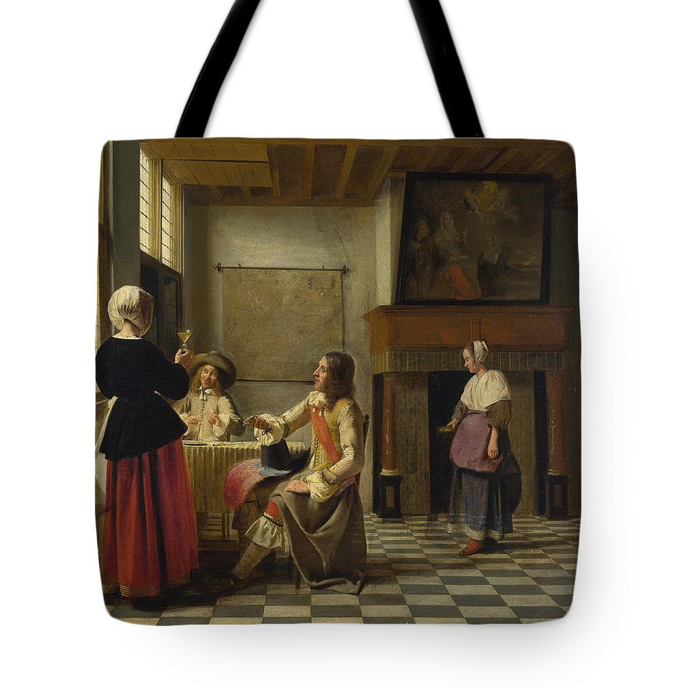 Baroque Tote Bag featuring the painting A Woman Drinking With Two Men by Pieter de Hooch