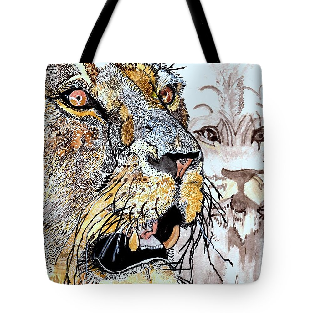 Lion Tote Bag featuring the painting Always The King by Connie Valasco