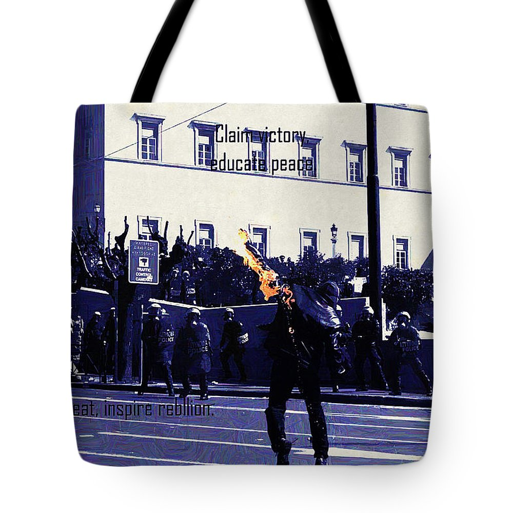 Anarchy Tote Bag featuring the digital art Anarchy by Lora Battle