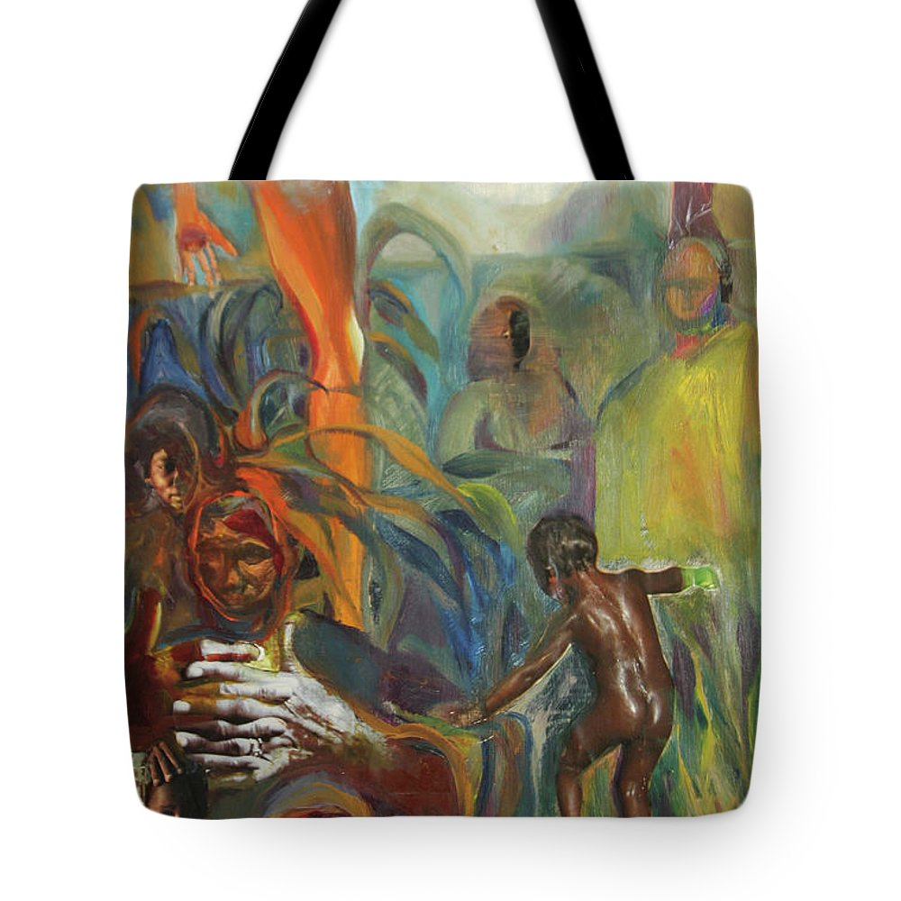 Collage Tote Bag featuring the mixed media Ancestor Dance by Daun Soden-Greene