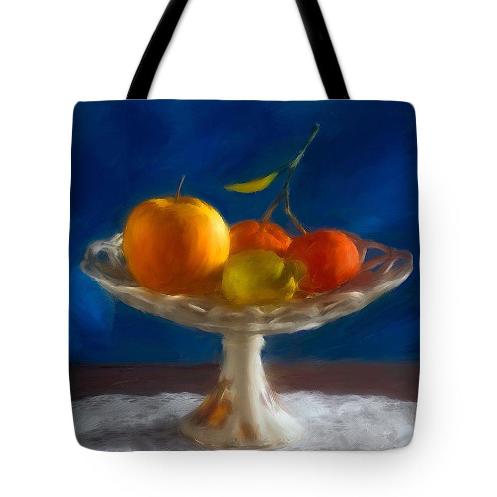 Home Decoration Tote Bag featuring the photograph Apple, Lemon And Mandarins. Valencia. Spain by Juan Carlos Ferro Duque