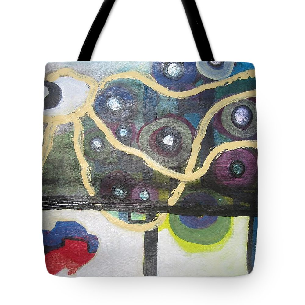 Abstract Contemporary Apple Tree Sun Plant Outdoor Blue Tote Bag featuring the painting Apple Trees by Seon-Jeong Kim