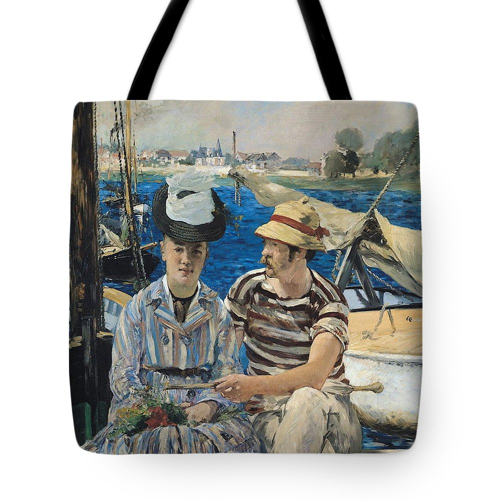 Boat Tote Bag featuring the painting Argenteuil by Edouard Manet