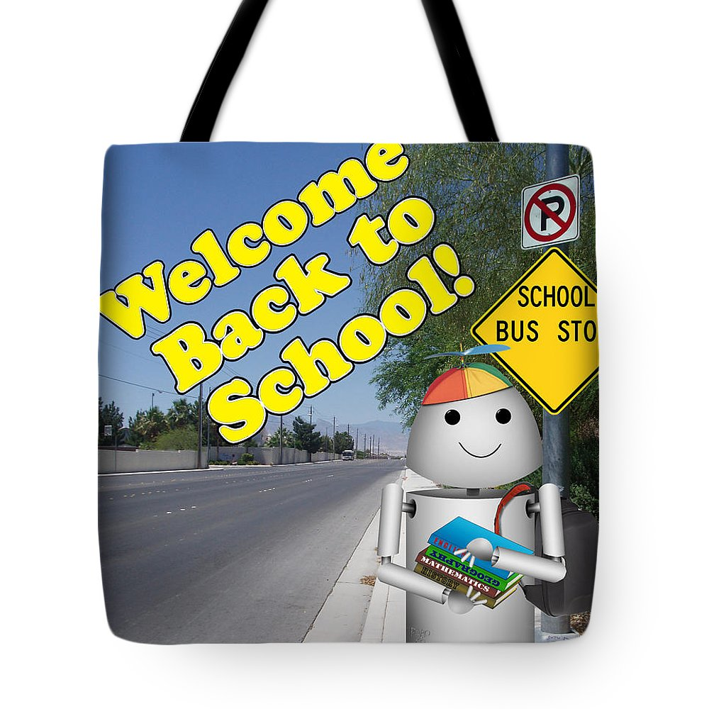 Back To School Tote Bag featuring the digital art Back To School Little Robox9 by Gravityx9 Designs