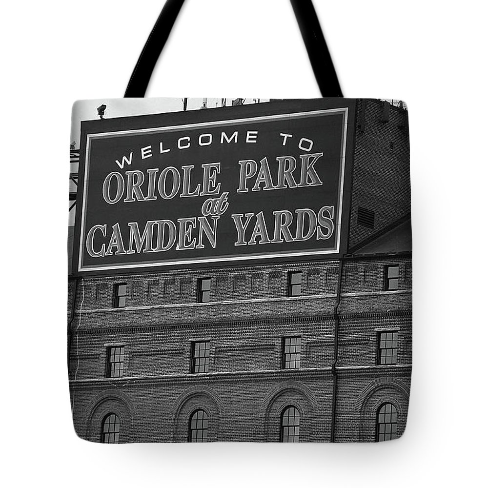 America Tote Bag featuring the photograph Baltimore Orioles Park At Camden Yards Bw by Frank Romeo