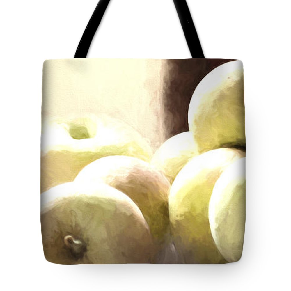 Apples Tote Bag featuring the photograph Basket Of Apples by Pam Holdsworth
