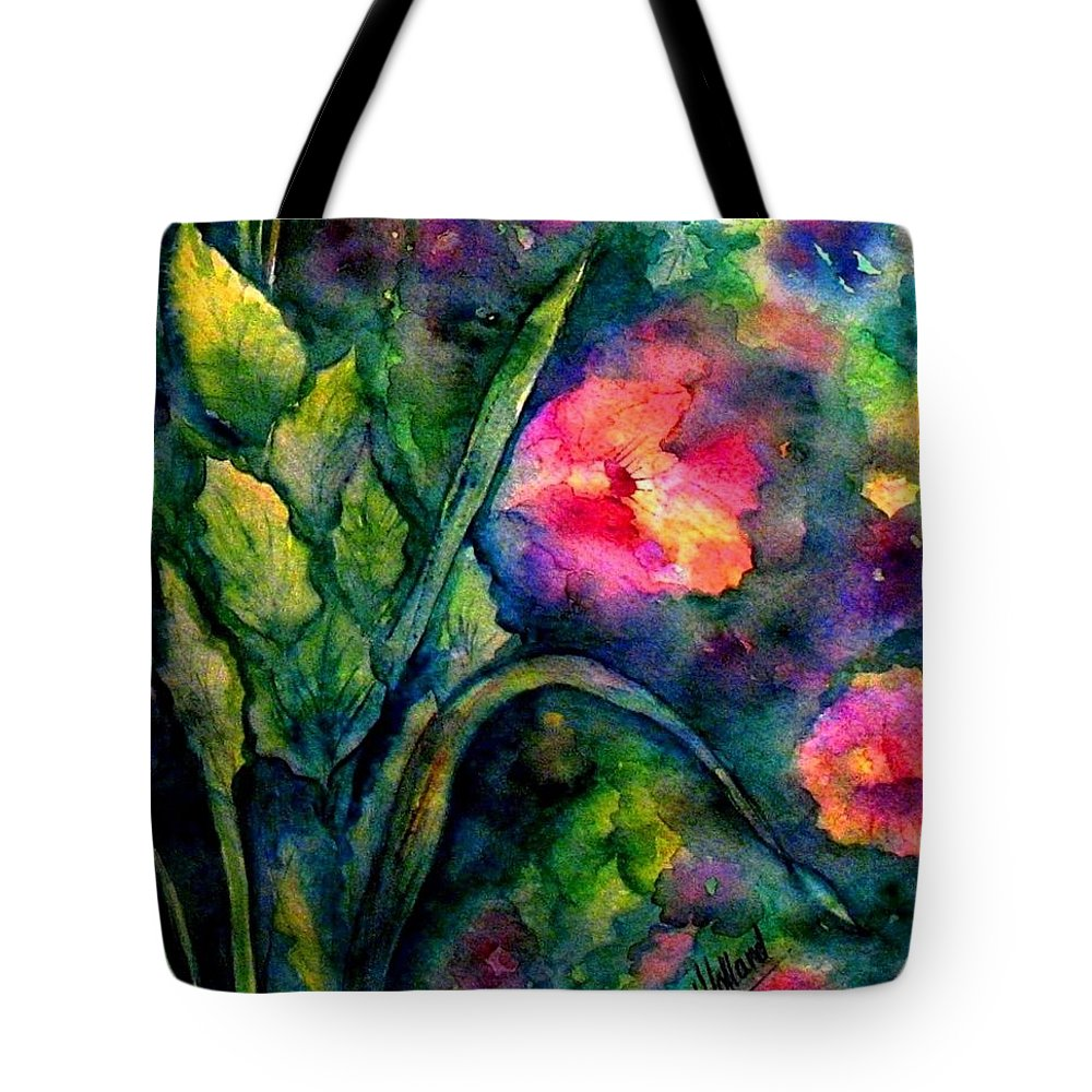 English Garden Tote Bag featuring the painting Basking In The Light by Hazel Holland