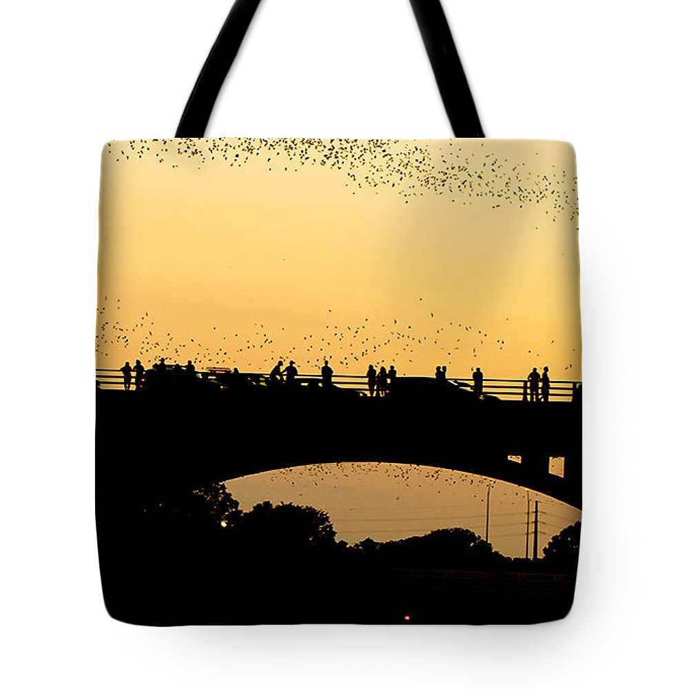 Austin Tote Bag featuring the photograph Bat Flight In Austin Texas by Anthony Totah