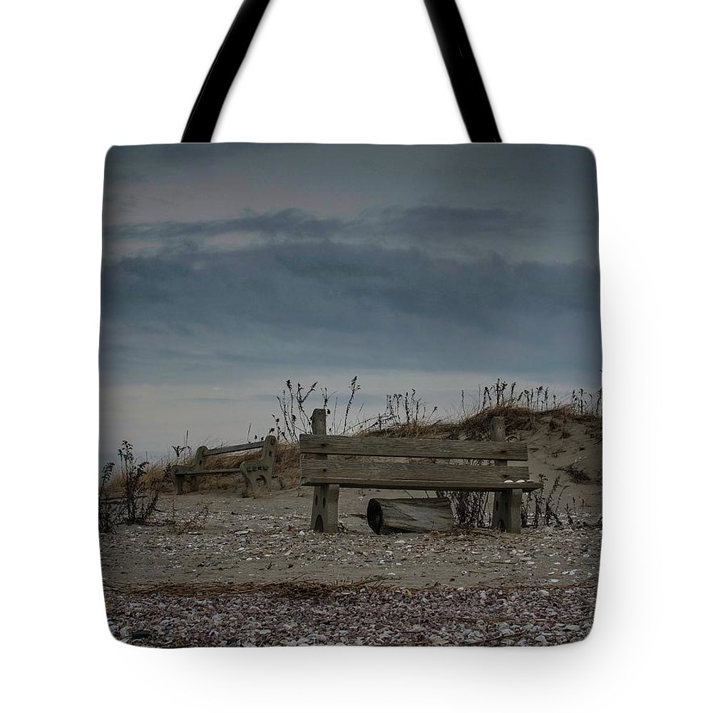 Landscape Tote Bag featuring the photograph 2 Benches by Renato Ghio