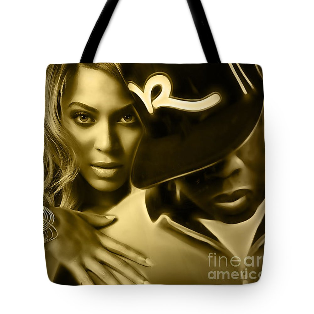 Beyonce Tote Bag featuring the mixed media Beyonce Jay Z Collection by Marvin Blaine