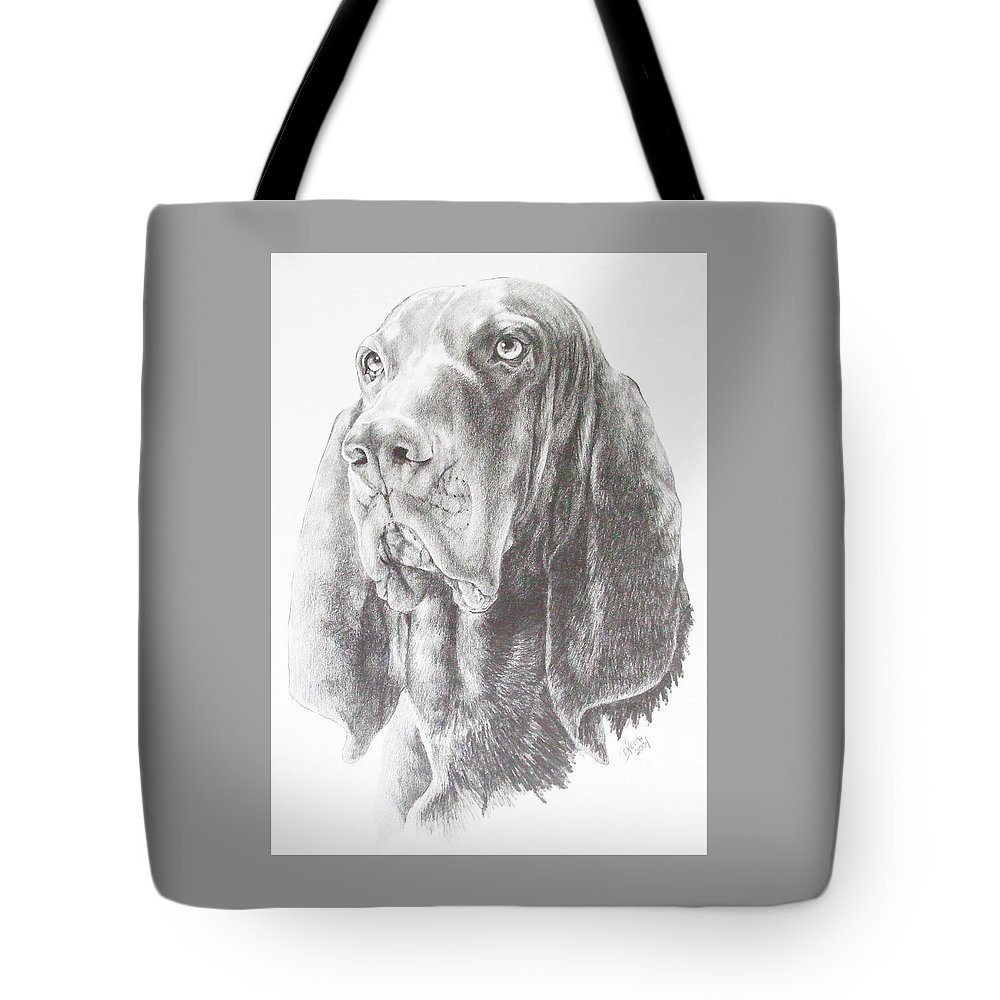 Purebred Dogs Tote Bag featuring the drawing Black And Tan Coonhound by Barbara Keith