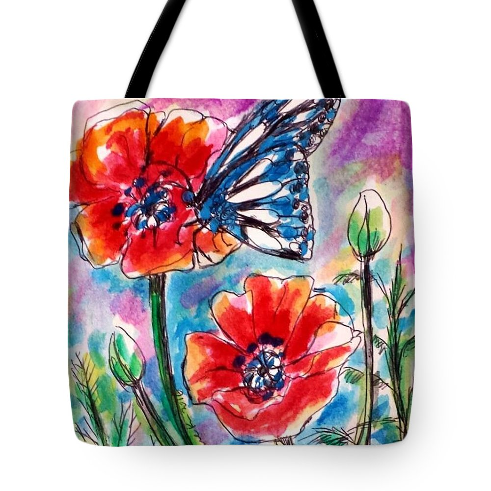 Poppies Tote Bag featuring the painting Blue Butterfly by Hae Kim