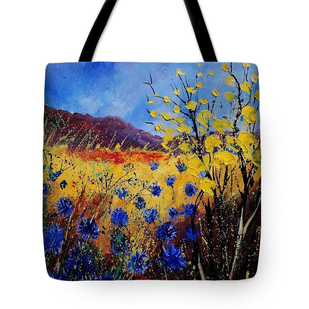 Poppies Flowers Floral Tote Bag featuring the painting Blue Cornflowers by Pol Ledent