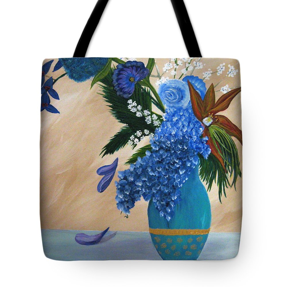 Flowers Tote Bag featuring the painting Blue Passion by Debbie Levene