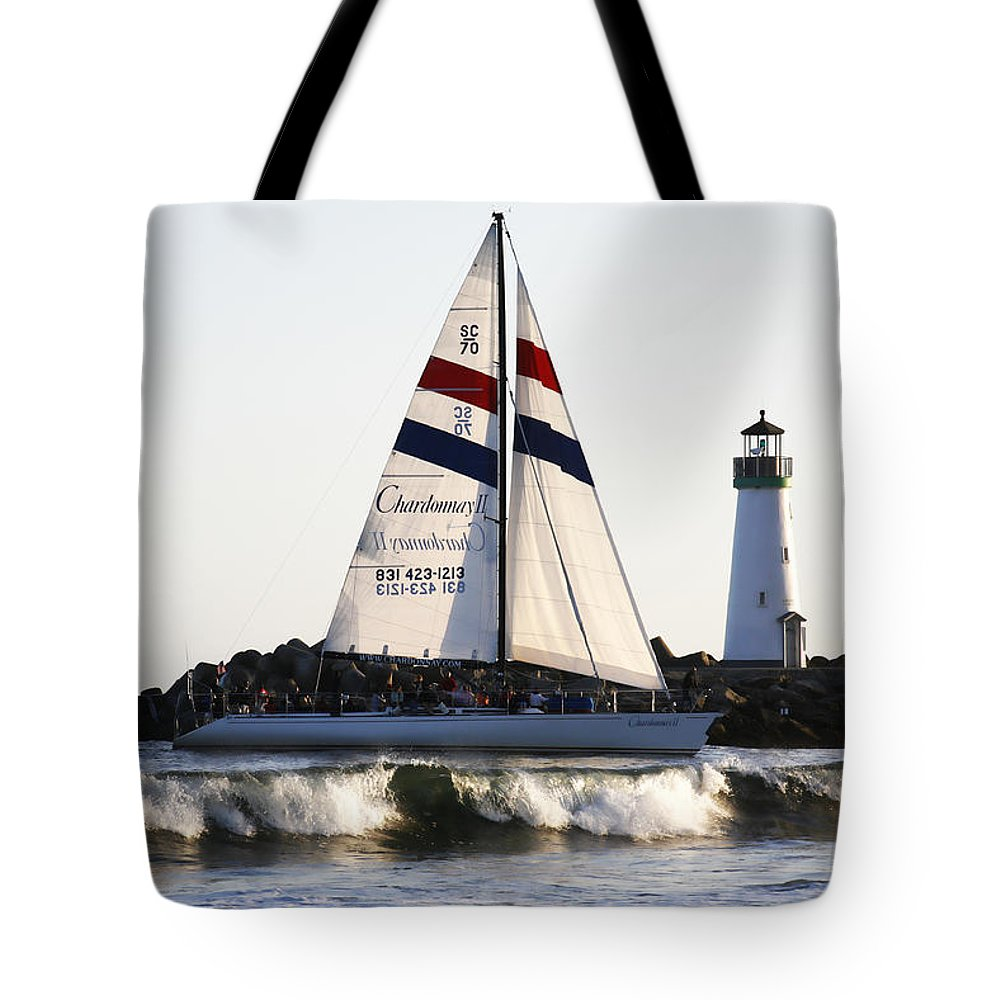 Santa Cruz Tote Bag featuring the photograph 2 Boats Approach by Marilyn Hunt