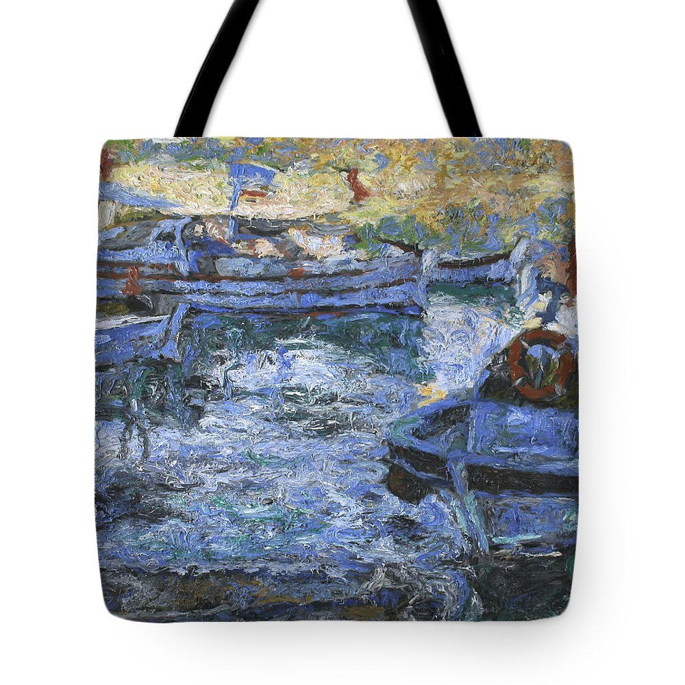 Bay Tote Bag featuring the painting Boats by Robert Nizamov