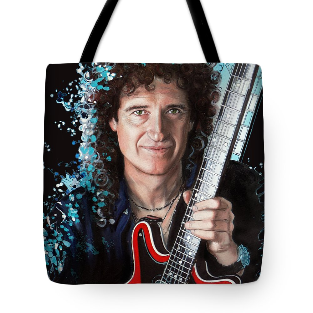 Brian May Tote Bag featuring the pastel Brian May by Melanie D