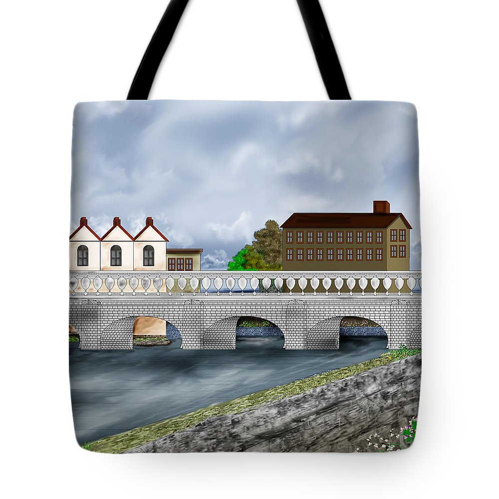Galway Ireland Bridge Tote Bag featuring the painting Bridge In Old Galway Ireland by Anne Norskog