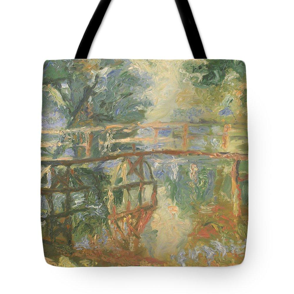 Impasto Painting Tote Bag featuring the painting Bridge by Robert Nizamov