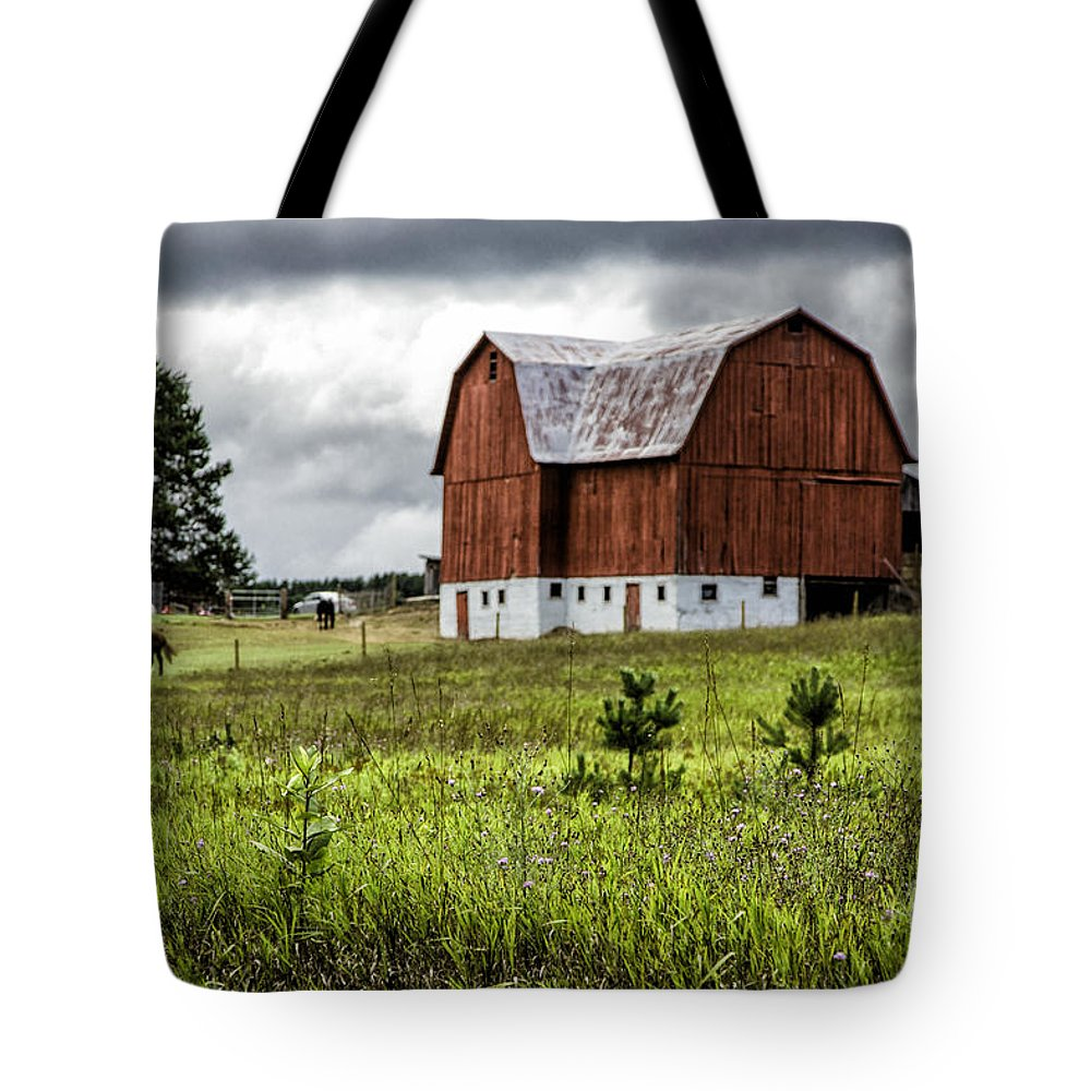 Michigan Tote Bag featuring the photograph Brutus Barn by Timothy Hacker