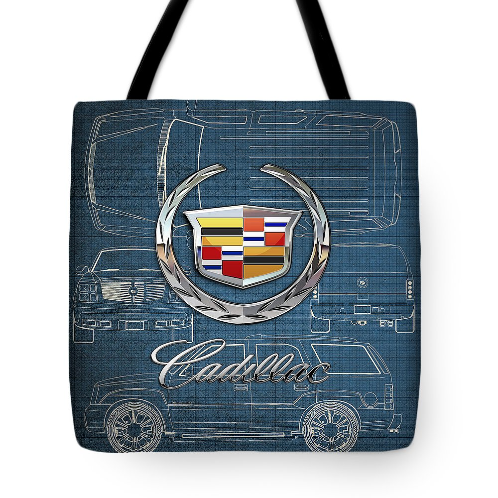 'wheels Of Fortune' By Serge Averbukh Tote Bag featuring the photograph Cadillac 3 D Badge over Cadillac Escalade Blueprint by Serge Averbukh