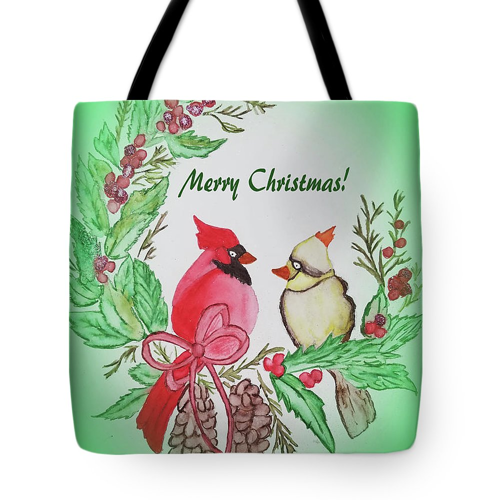 Tote Bag featuring the painting Cardinals Painted By Debbie Woodrow by Debbie Woodrow