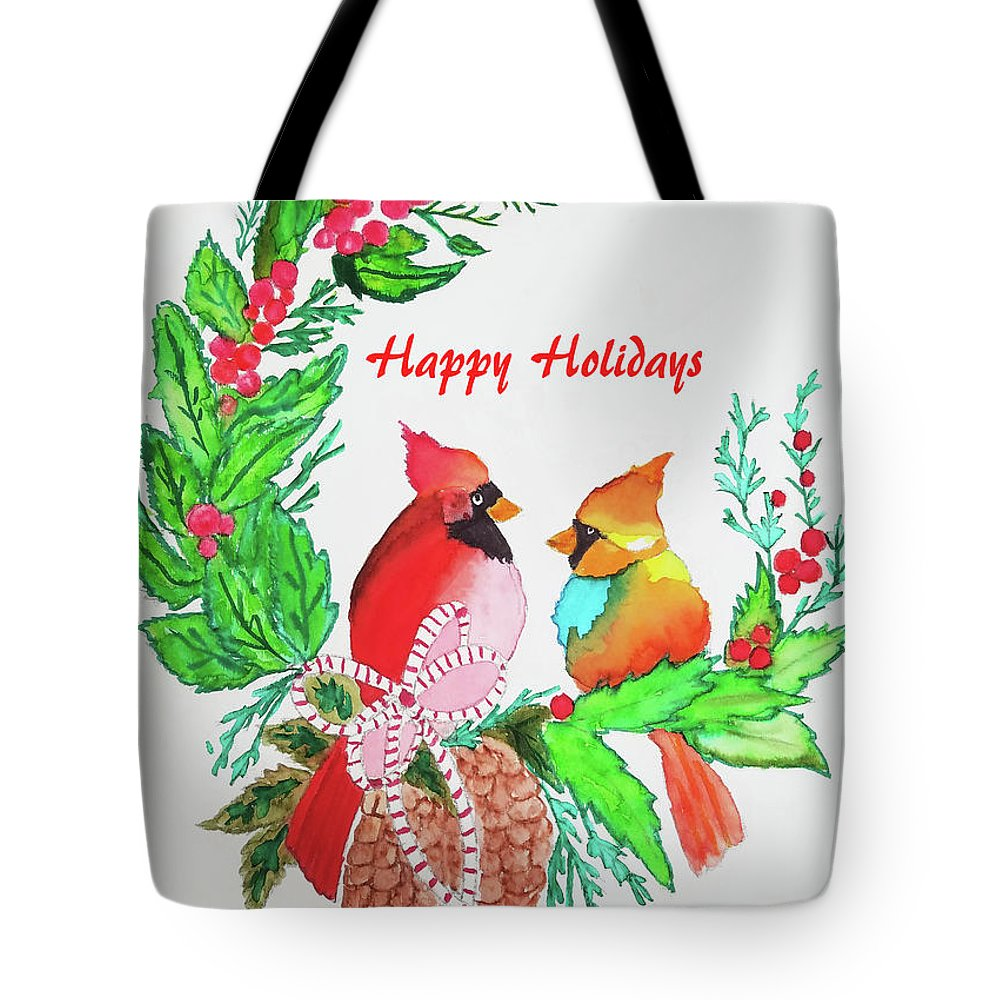 Tote Bag featuring the painting Cardinals Painted By Judith Brilhamte by Judith Brilhamte