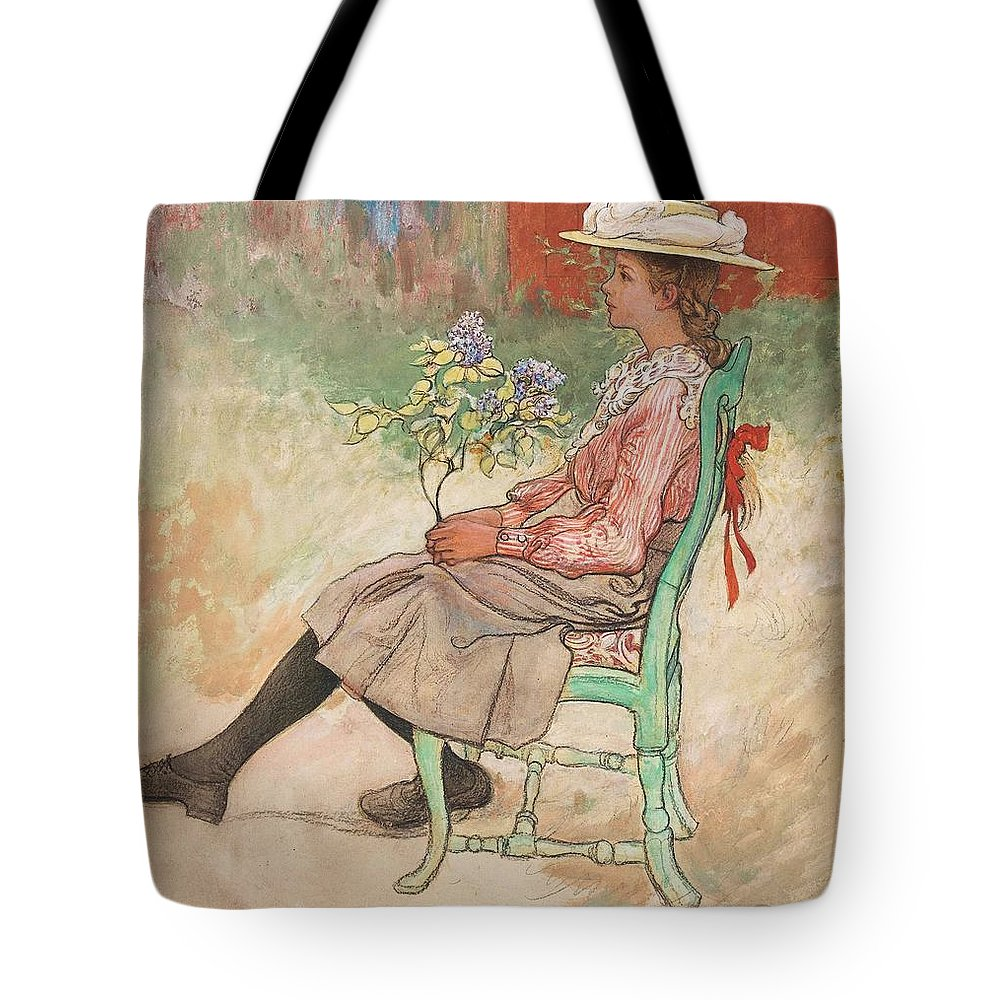 Girl Tote Bag featuring the painting Carl Larsson, Dagmar Grill by Carl Larsson