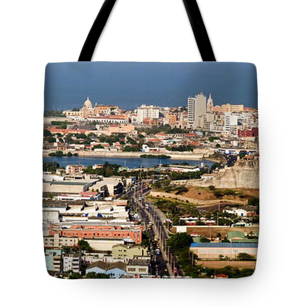 Cartegena Tote Bag featuring the photograph Cartegena Colombia by Thomas Marchessault
