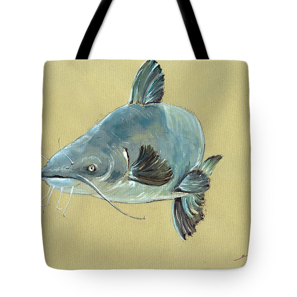Channel Catfish Fish Animal Watercolor Painting Tote Bag