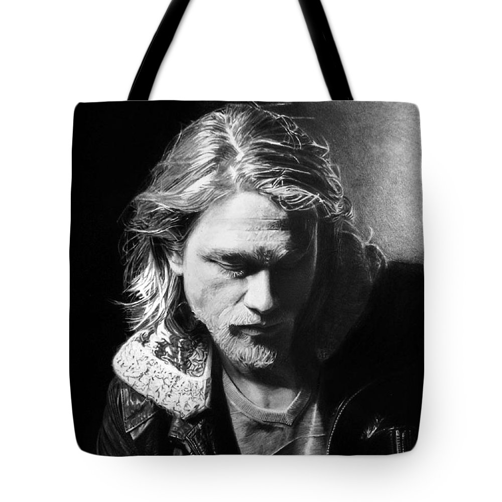 Charlie Hunnam Jackson 'jax' Teller Sons Of Anarchy Pencil Black And White Portrait Fan Art Tote Bag featuring the drawing Charlie Hunnam by Stan Antonio