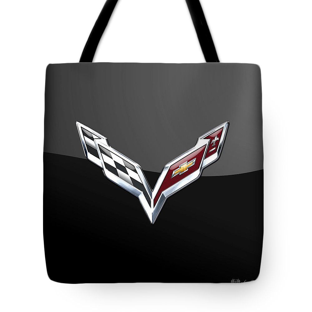 �wheels Of Fortune� Collection By Serge Averbukh Tote Bag featuring the photograph Chevrolet Corvette 3D Badge on Black by Serge Averbukh