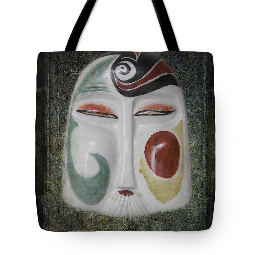 Abstract Tote Bag featuring the photograph Chinese Porcelain Mask Grunge by Heiko Koehrer-Wagner