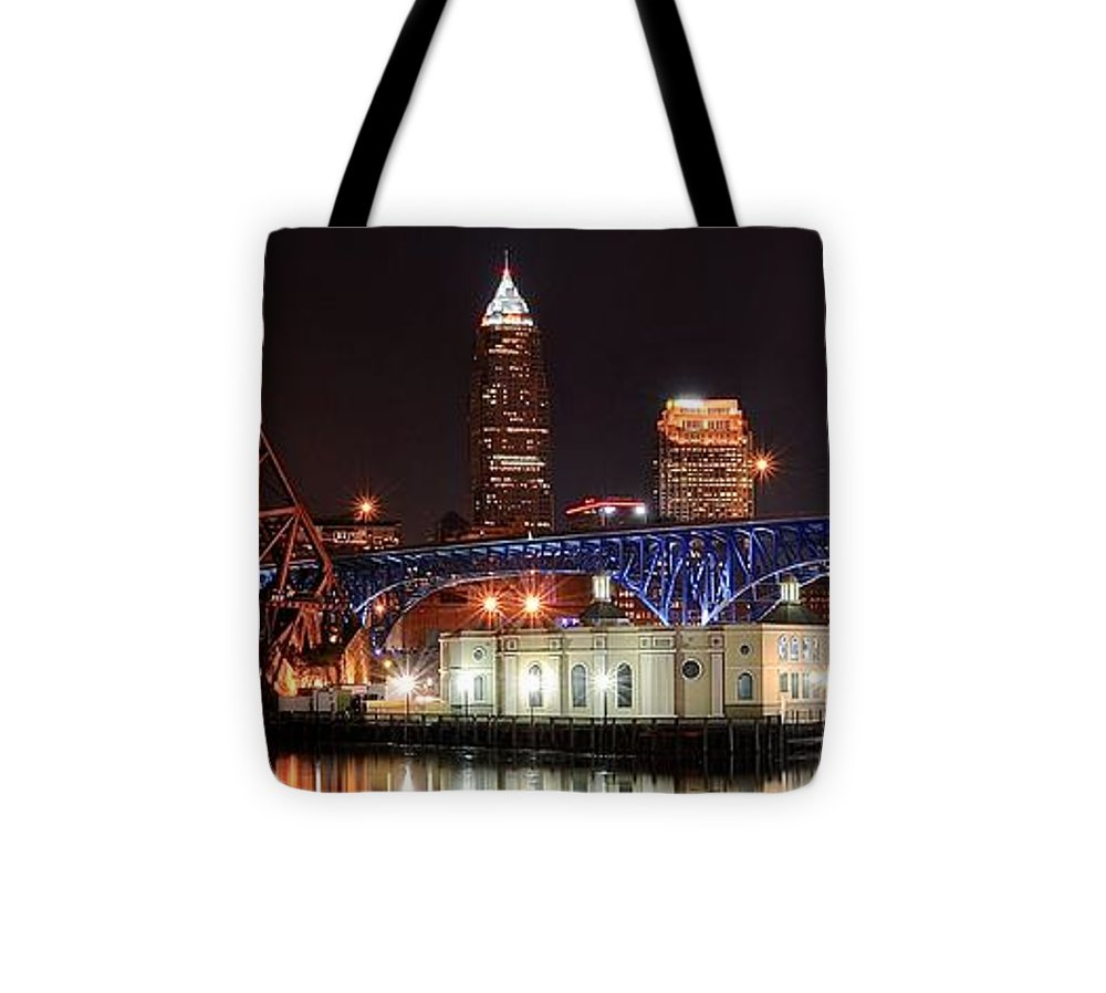 Cleveland Tote Bag featuring the photograph Cleveland Panorama by Frozen in Time Fine Art Photography