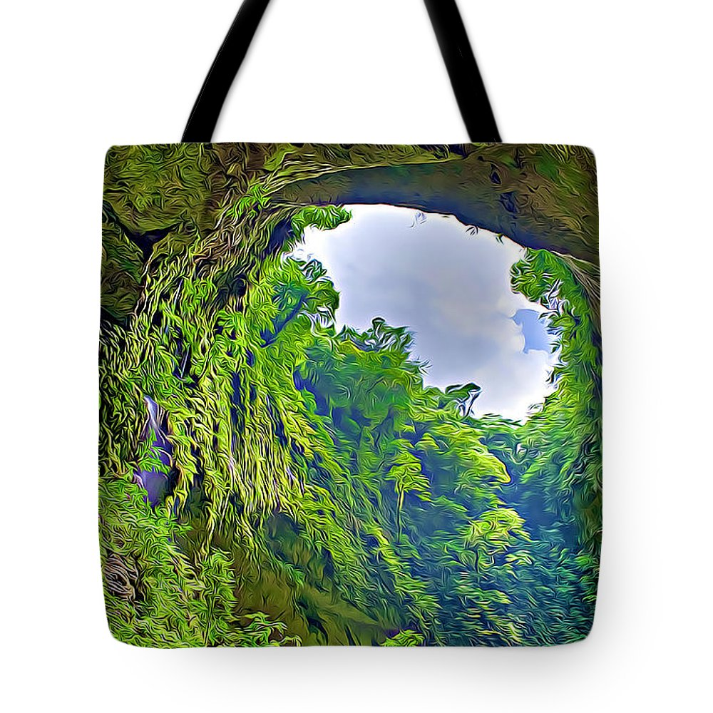 Cliff Tote Bag featuring the digital art Cliff by Lora Battle