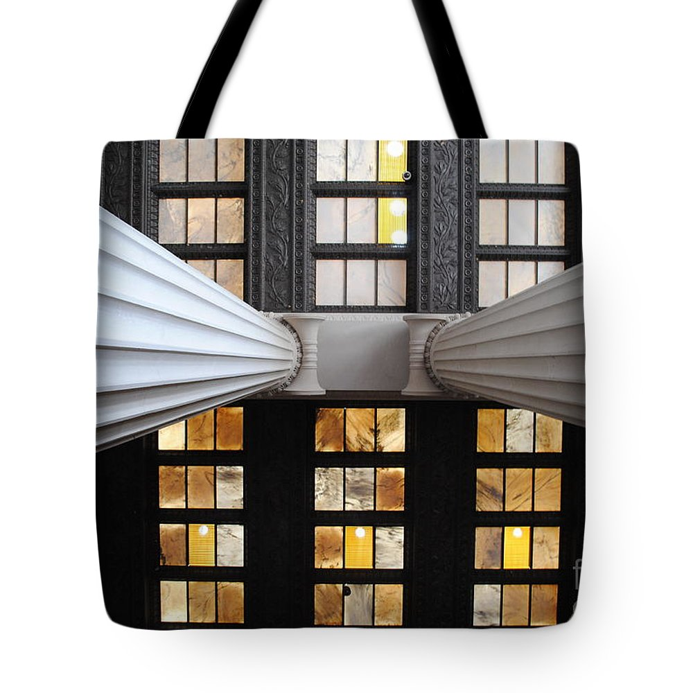 Lincoln Tote Bag featuring the photograph 2 Column Stain Yellow by Jost Houk