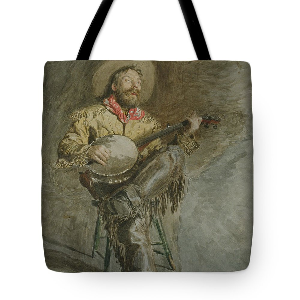 19th Century Art Tote Bag featuring the drawing Cowboy Singing by Thomas Eakins