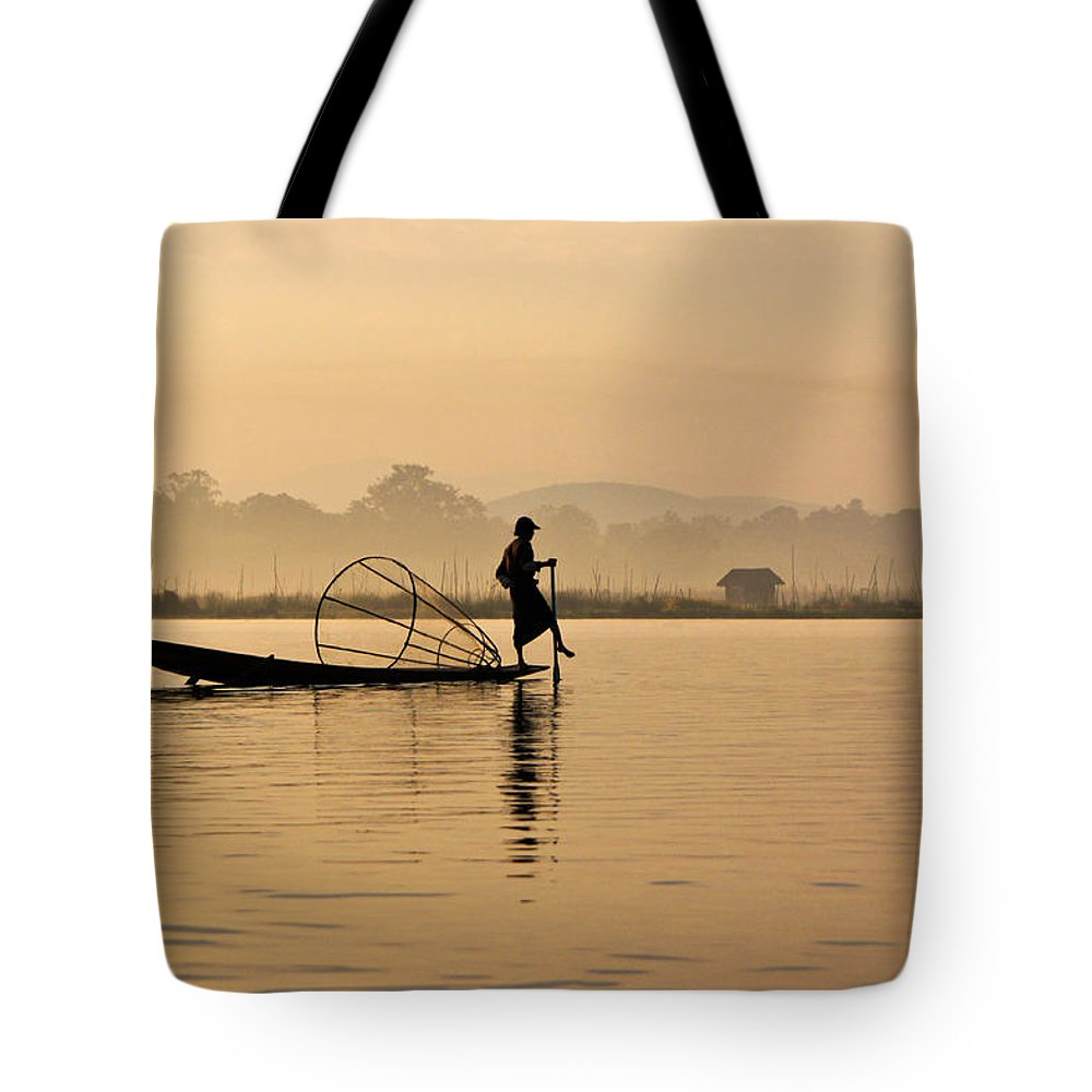 Asia Tote Bag featuring the photograph Dawn On Inle Lake by Michele Burgess