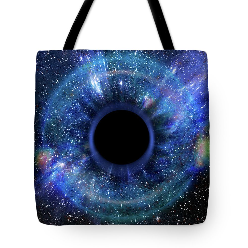 Abstract Tote Bag featuring the photograph Deep Black Hole, Like An Eye In The Sky by Alain De Maximy