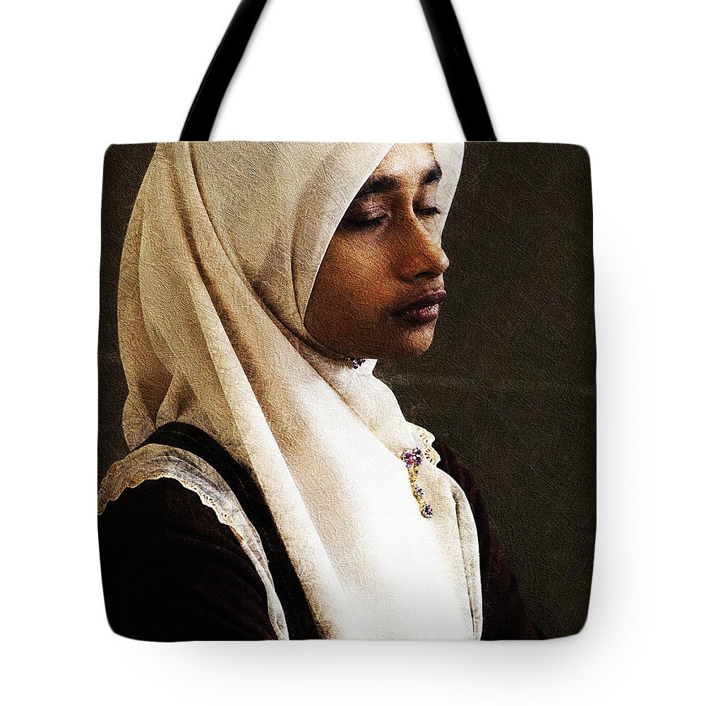 Hijab Tote Bag featuring the photograph Deep In Thought by Sheila Smart Fine Art Photography