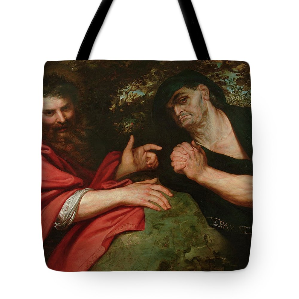 Baroque Tote Bag featuring the painting Democritus And Heraclitus by Peter Paul Rubens
