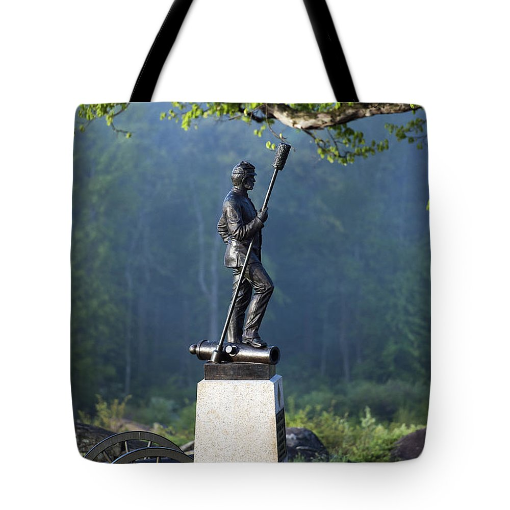 4th New York Independent Battery Tote Bag featuring the photograph Devil's Den Monument At Gettysburg by John Greim