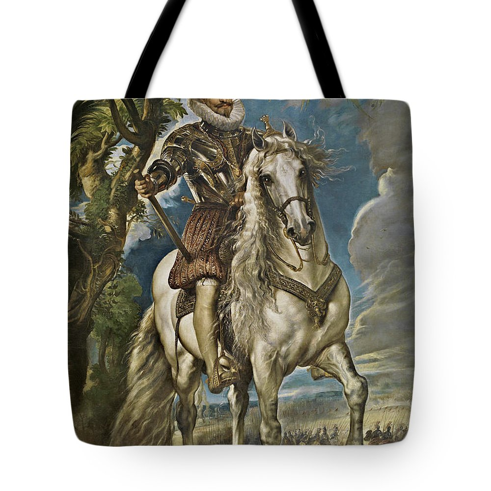 Armor Tote Bag featuring the painting Equestrian Portrait Of The Duke Of Lerma by Peter Paul Rubens
