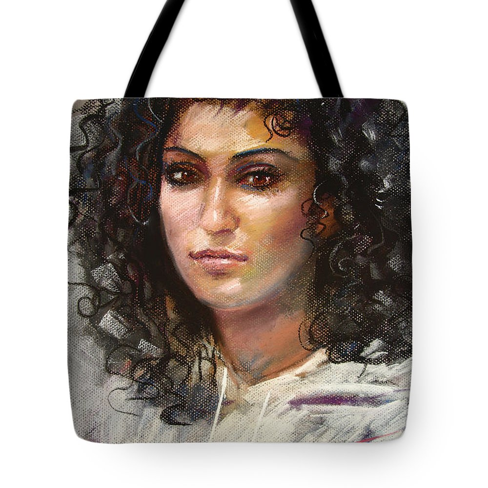 Girl Portrait Tote Bag featuring the pastel Erbora by Ylli Haruni