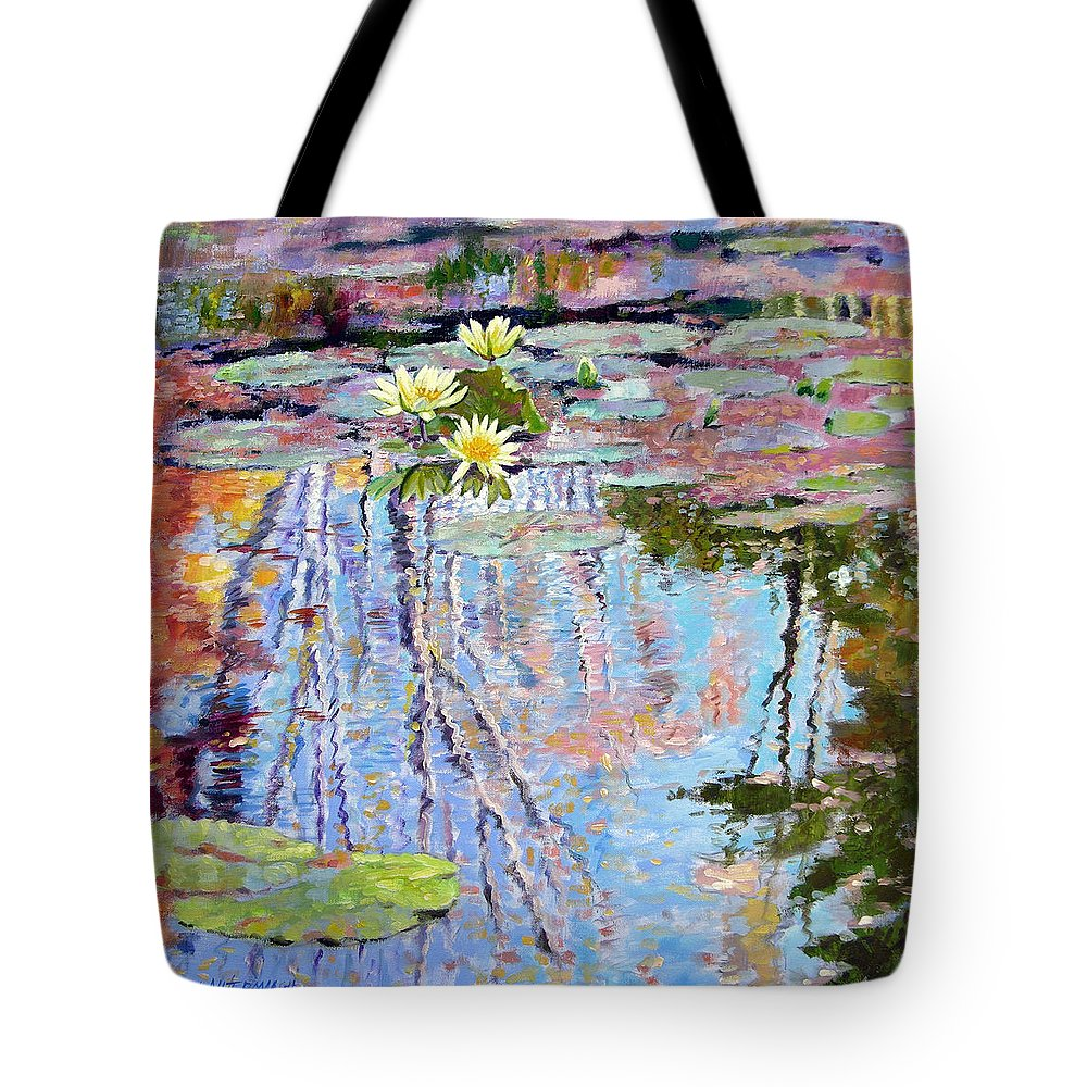 Garden Pond Tote Bag featuring the painting Fall Reflections by John Lautermilch