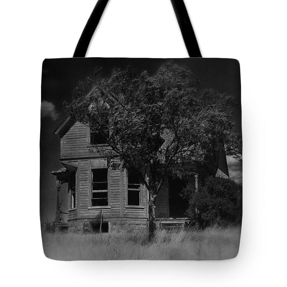 Film Homage Anthony Perkins Janet Leigh Alfred Hitchcock Psycho 1960 Vacant House Black Hills Sd '65 Tote Bag featuring the photograph Film Homage Anthony Perkins Janet Leigh Alfred Hitchcock Psycho 1960 Vacant House Black Hills Sd '65 by David Lee Guss