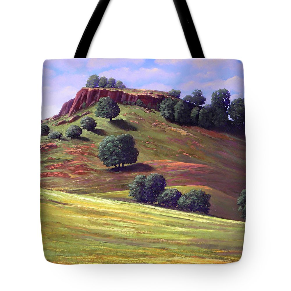 Landscape Tote Bag featuring the painting Flowering Meadow by Frank Wilson